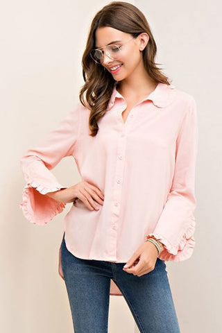 High-Low Ruffle Trim Shirt - Blush - Gingerlining