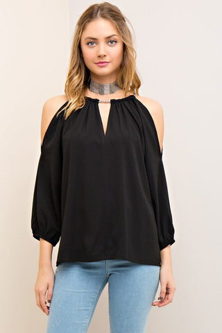 Solid Open-Shoulder Top - Black - Gingerlining