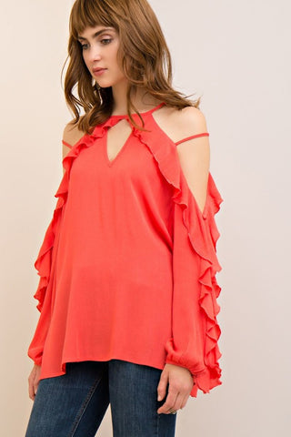 Open Shoulder Ruffle Trim Strap Top - Tomato - Gingerlining