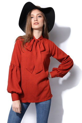 Ladylike Bow Blouse - Rust
