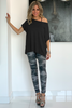 Asymmetrical  Tee With Raw Hems- Black (5636446257306)