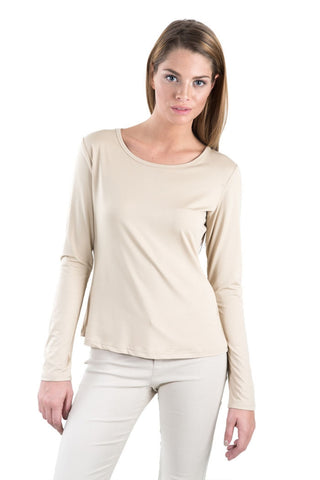 Basic Solid Knit Top- Beige