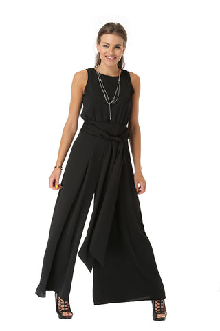 Sleeveless Billowy Jumpsuit- Black - Gingerlining
