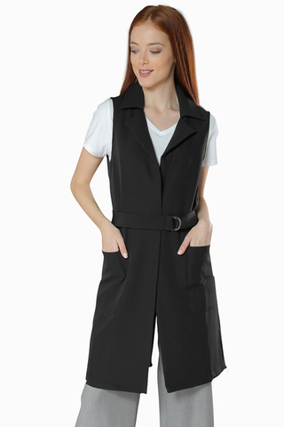 Trench Inspired Vest- Black - Gingerlining