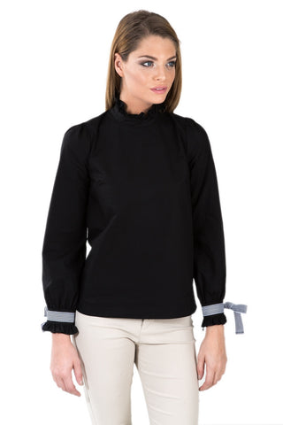 Black Shirt With Striped Ribbon Detail On sleeve