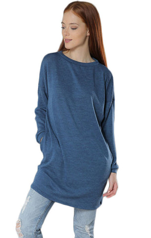 Long Sleeve Tunic Top- Blue - Gingerlining