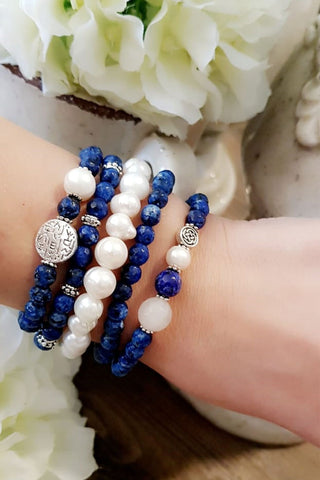 Blue Sodalite Beaded Bracelet
