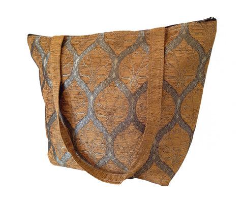 Leaves style Tote  - Brown - Gingerlining