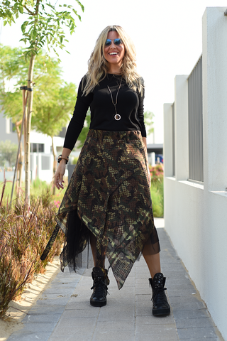 High Low Camo Net Skirt (6069055291566)