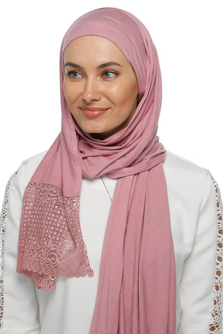 One Piece Full Cover Lace Turban - Dark Powder Pink