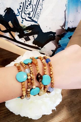 Aqua Blue & Brown Beaded Bracelet