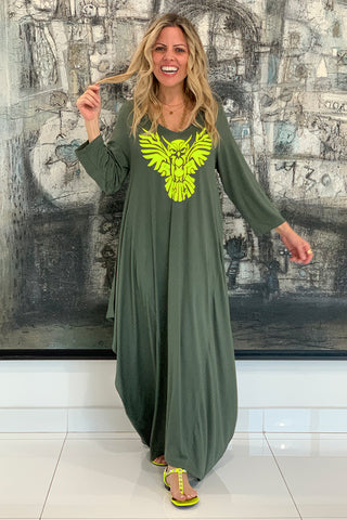 Owl 3/4 Sleeves V-Neck Cotton Maxi Dress - Olive