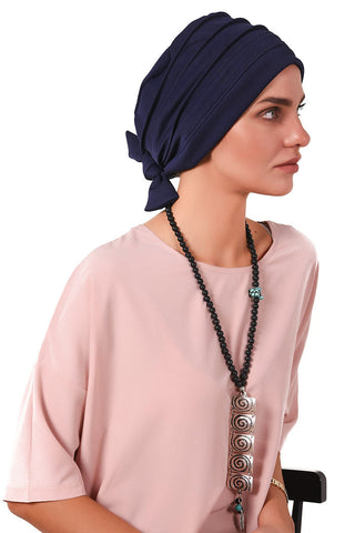 Lycra Fitted Pleat Turban - Navy - Gingerlining
