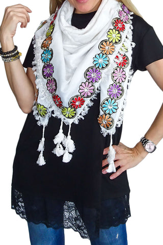 Oriental Charm scarf - Floral Fest / White