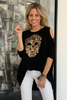 Peek A Boo Top With Skull Print - Black (1870182678572)