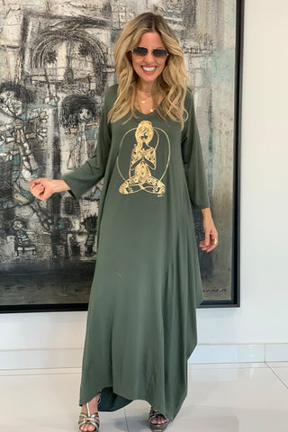 Yogi 3/4 Sleeves V-Neck Cotton Maxi Dress - Olive / Gold