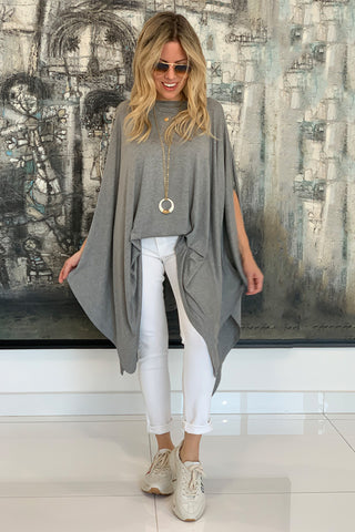 Cotton Poncho Top - Grey