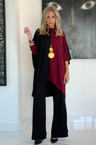 Color Block Top - Black / Maroon