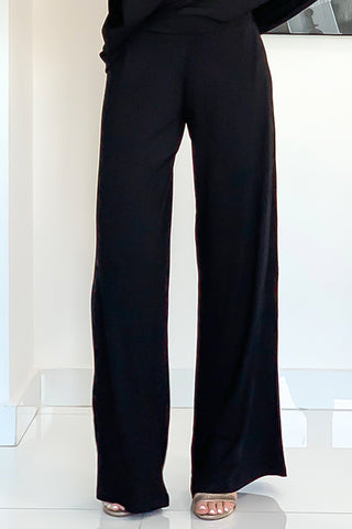 Black Cotton Wide Leg Pants - Black