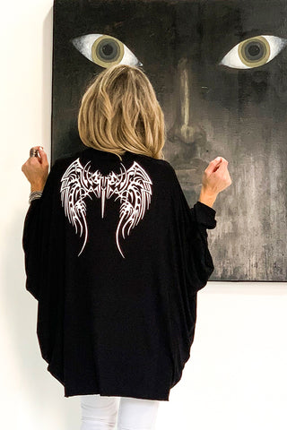 Batwing Sleeve Cotton Cardigan With Angel Wings Print - Black/White (3890825887788)