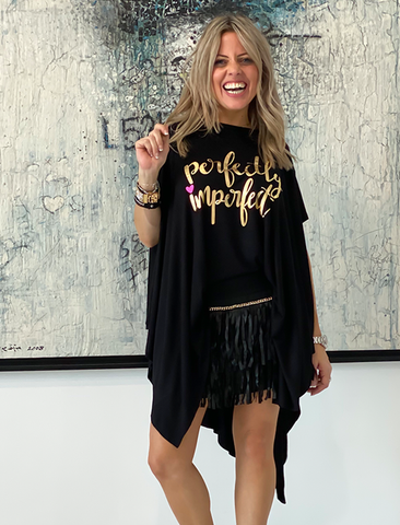 Short Sleeves Poncho Top - Black / Perfectly Imperfect