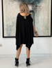 Short Sleeves Poncho Top - Black / Swarovski