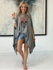 Colored Skull Cotton Poncho Top - Grey (4170128851077)