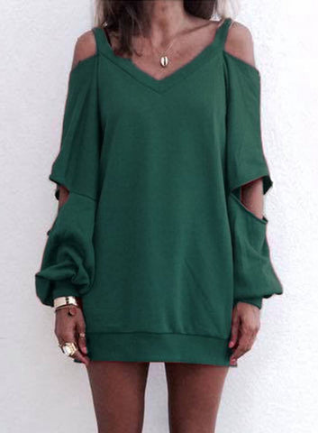 Open Shoulder Sweater Top / Dress - Green
