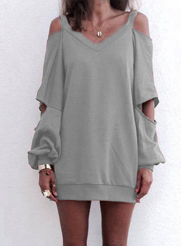 Open Shoulder Sweater Top - Grey