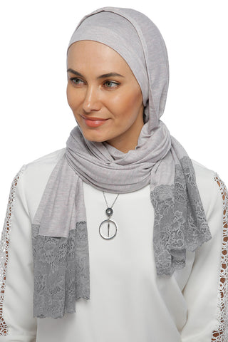 One Piece Full Cover Lace Turban - Grey /Grey Lace