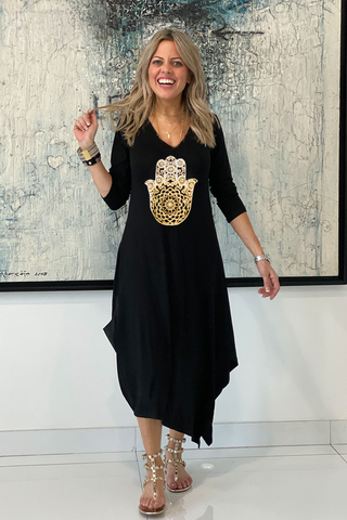Long Sleeves Total Comfort Dress - Black/Gold Hamsa (6152358396078)