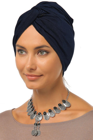 Simple Knot Turban - Navy - Gingerlining