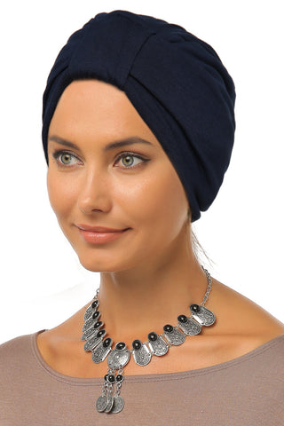 Simple Tab Turban - Navy - Gingerlining