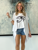 Short Sleeves Poncho Top - White / Evil Eye