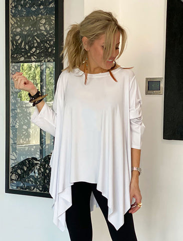 Long Sleeves Poncho Top - White