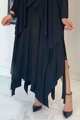 Asymmetrical Draped Skirt With Adjustable Tie Belt- Black