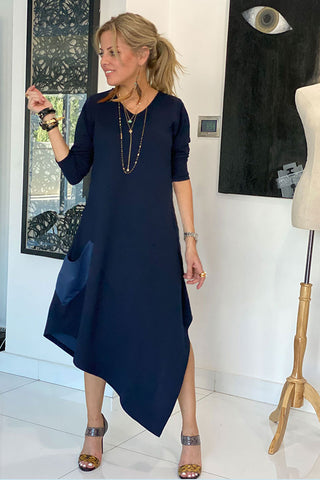 Long Sleeves Total Comfort Dress - Navy (Winter Fabric) (4360071381125)