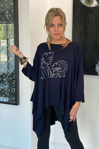Long Sleeves Poncho Top -Navy/  Frankenstein & His Bride