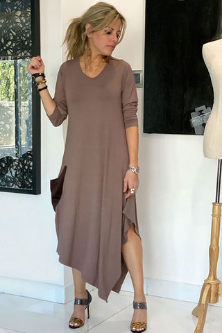 Long Sleeves Total Comfort Dress - Mocha (4360034680965)