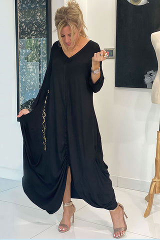 Long sleeves Calligraphy Dress - Black (4260186030213)