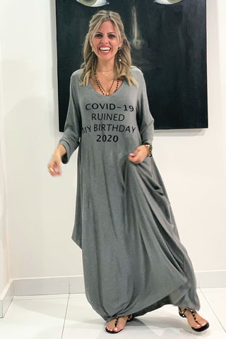 Covid Ruined My Birthday 3/4 Sleeves V-Neck Cotton Maxi Dress - Grey