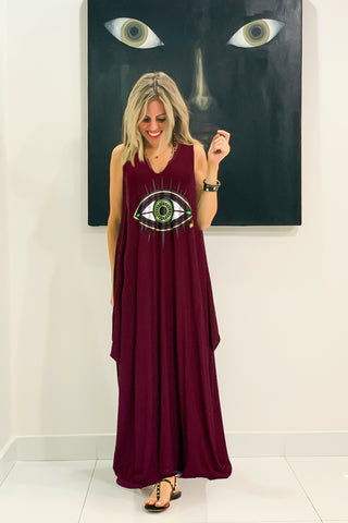 Evil Eye Sleeveless V Neck Cotton Maxi Dress - Maroon