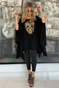 Skull Poncho Top - Black / Gold (1870186709036)
