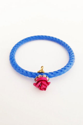 Jelly Bangle- stone - Mini-Blue-Small Flower