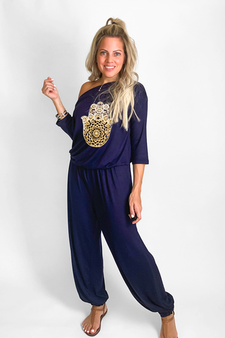 Boat Neck Jogger Jumpsuit With Hamsa Hand (6157028458670)