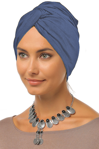 Simple Knot Turban - Denim Blue - Gingerlining