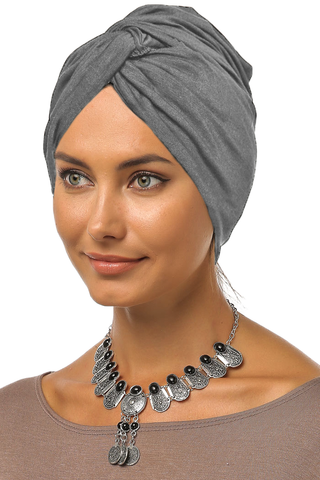 Simple Knot Turban - Grey - Gingerlining