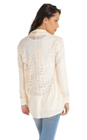 Lace Knit Cardigan- Beige - Gingerlining (4068161860)