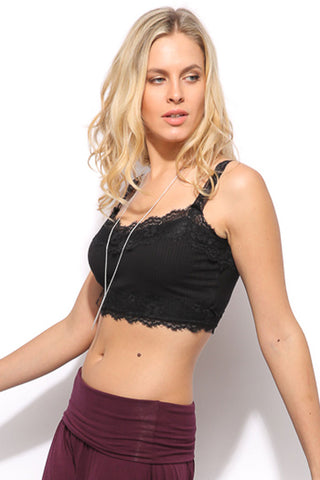 Lace Crop Top - Black - Gingerlining