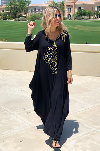 Life 3/4 Sleeves V-Neck Cotton Maxi Dress - Black